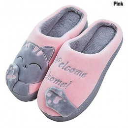 Kobiety zimowe pantofle domowe kot kreskówka buty antypoślizgowe miękkie pluszowe ciepłe zimowe kapcie do domu kryty sypialnia p