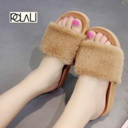 POLALI kryty Kapcie futrzane 2016 ciepłe buty na koturnie kobieta Slip On miękkie mieszkania na co dzień podłogowe pantofel kobi