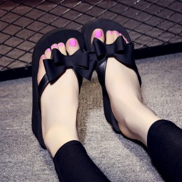 2018 lato kobiet mody Flip Flop buty bowknot grube dno antypoślizgowe sandały pantofel buty na koturnie chaussure femme 833 W
