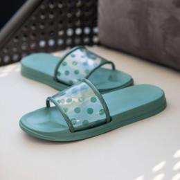 Yu Kube klapki na lato buty kobieta 2019 Polka kropki przezroczyste Peep Toe klapki japonki jasne kobiety na zewnątrz mieszkania