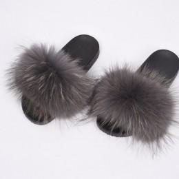 Damskie futrzane klapki prawdziwe futro szopa moda w stylu Furry slajdy miękkie ciepłe duże puszyste futrzane buty S6020E