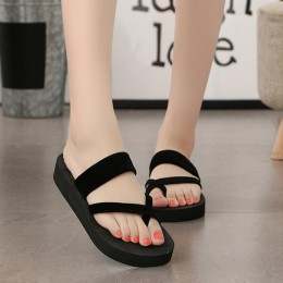 Senza Fretta 2019 nowych kobiet lato antypoślizgowe buty na koturnie kliny wysoki obcas kobieta odkryty kapcie plażowe sandały s