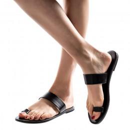 2019 kobiet kapcie wiosna lato plaża buty w stylu casual panie stałe płaskie obcasy kapcie plaża slajdy Roman skórzane klapki Ho