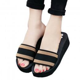 Kobiety lato klapki japonki płaskie buty damskie EVA sandały pantofel kryty odkryty klapki plażowe buty w paski projekt kapcie