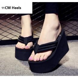 2019 New Arrival kobiety grube sandały wysokie obcasy kliny klapki japonki pani Pure Color wody tajwan letnie buty Plus rozmiar