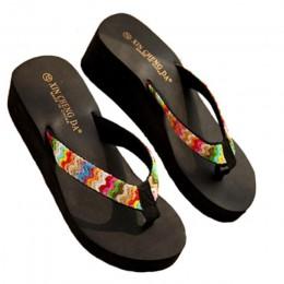 Luksusowe buty kobiety lato Sexy klapki japonki sandały na platformie plaża płaskie klinowe Patch klapki japonki Lady kobiet mię