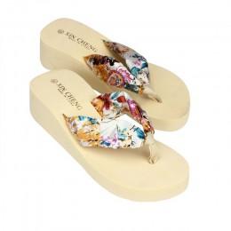 Kapcie damskie na co dzień nowy Bohemia Floral Beach sandały kliny platformy stringi kapcie klapki japonki Flip Flop buty damski