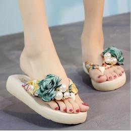 Lato plaża klapki japonki damskie sandały ręcznie robione kwiaty na co dzień klip sandały na płaskim obcasie pantofle na zewnątr