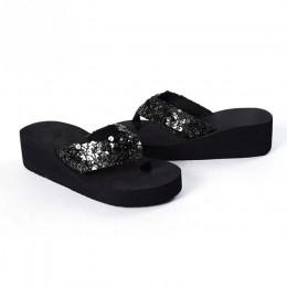 Kobiety cekiny kapcie plażowe klapki japonki sandały EVA na co dzień kobiety kliny platformy kapcie Zapatos Mujer