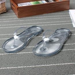 Kobiety lato klapki japonki kapcie damskie płaskie przezroczyste galaretki buty, żeński, moda klip Toe na świeżym powietrzu stri