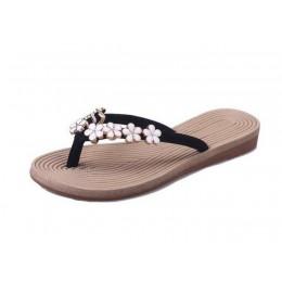 COOTELILI 35-41 Plus rozmiar moda kwiatowe metalowe buty plażowe damskie klapki na lato letnie klapki japonki płaskie buty dla p