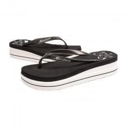 Kobiety lato plaża miękkie buty na koturnie klapki japonki płaskie platformy kapcie prezent