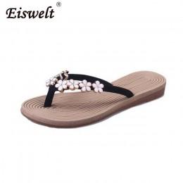 Plus rozmiar moda kwiatowe metalowe buty plażowe damskie klapki na lato letnie klapki japonki płaskie buty dla pań