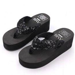Letnie buty damskie sandały na platformie klina klapki japonki Sapato Feminino wysokiej obcas kapcie Sandalias Plataforma Chancl