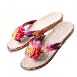 Nowe letnie kobiety pościel kapcie kwiat wstążka sandały płaskie EVA antypoślizgowe pościel slajdy domu Flip Flop zdrowie słoma