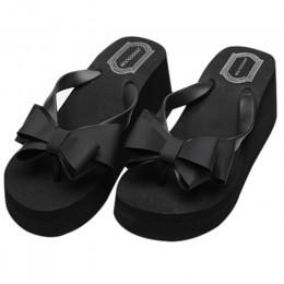Kobiety moda platforma połowy obcas klapki japonki plażowe sandały Bowknot klapki