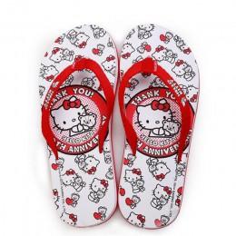 Oukahui Hello Kitty Cartoon nowych kobiet klapki japonki plaża wypoczynek piękny dom sandały kobieta buty Hello Kitty dziewczyny
