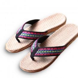 Nowe letnie pościel kobiety kapcie etniczne kraty tkaniny Eva płaskie antypoślizgowe lnu Flip Flop domu slajdy Lady sandały słom