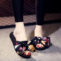 Sandalias łuk kobiety lato Bowtie buty plażowe kobieta klapki damskie płaskie obcasy klapki japonki damskie suwaki buty na kotur