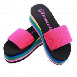 Letnie damskie buty antypoślizgowe kapcie kobiety Flip-flop Rainbow sandały platformy kryty klapki japonki kapcie sandały
