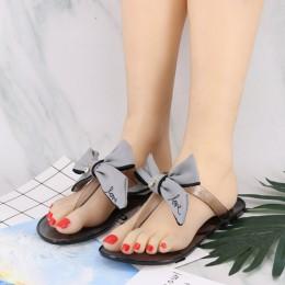 HTUUA 2019 nowych moda kryształ łuk kapcie kobiety żelowe sandały płaskie slajdy na co dzień na plaży klapki japonki lato buty g