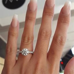Tani Klasyczny pierścionek dla kobiety zaręczynowy biała cyrkonia