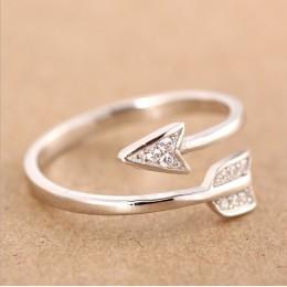 Shuangshuo 2017 New Arrival moda posrebrzane strzałka kryształowe rings dla kobiet regulowany pierścionek zaręczynowy strzałka k