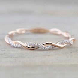 Różowe złoto kolor Twist klasyczne cyrkonia ślub pierścionek zaręczynowy dla kobiety dziewczyny austriackie kryształy prezent pi