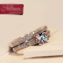 Bamos luksusowa kobieta biała suknia ślubna dla nowożeńców Wedding Ring Set moda 925 srebro wypełnione biżuteria obietnica CZ ka