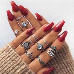 Tocona Bohemia antyczne złoto srebro słoń kwiat różowe serce korona rzeźbione pierścienie zestaw Knuckle Finger Midi pierścień d