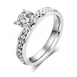 CACANA pierścienie ze stali nierdzewnej dla kobiet koło CZ spersonalizowane niestandardowe moda biżuteria hurtowych, ale nie gwa