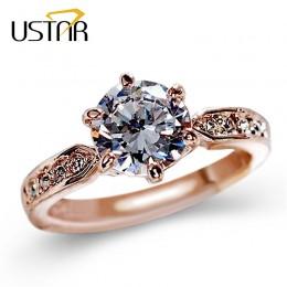 1.75ct AAA cyrkon obrączki dla kobiet różowe złoto kolor obrączki kobiet anel austriackie kryształy biżuteria najwyższej jakości