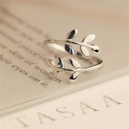 Modna elegancka delikatna regulowana obrączka damska złota srebrna ze zdobieniem w kształcie gałęzi oliwnej