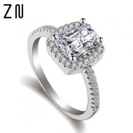 ZN pierścionki Fashion Show elegancki Temperament biżuteria kobiet dziewczyny biały srebrny wypełniony Wedding Ring