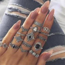 FAMSHIN 15 sztuk/zestaw moda w stylu Vintage pierścień zestaw Femme kamień srebrny Midi Finger pierścienie Boho kobiety biżuteri