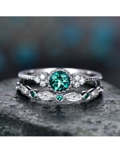 2 sztuk/zestaw 2018 luksusowe zielony niebieski kamień kryształowe Rings dla kobiet srebrny kolor obrączki ślubne biżuteria Drop