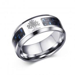Vnox 8mm spersonalizować węgla pierścień z włókna dla człowieka grawerowane drzewo życia ze stali nierdzewnej męski Alliance Cas