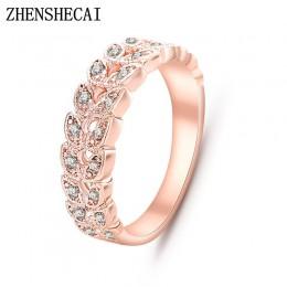 Najwyższej jakości złota zwięzłe klasyczne CZ kryształ ślub pierścień różowe złoto kolor austriackie Crystals sprzedaż hurtowa n