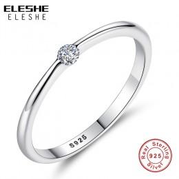 ELESHE autentyczne 925 Sterling Silver Rings okrągły cyrkon kryształowe pierścienie dla kobiet ślub oryginalny srebrny biżuteria