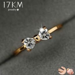 17 KM moda Austria kryształ pierścionki złoty kolor palec łuk pierścionek zaręczynowy ślub pierścienie sześciennych tlenku cyrko