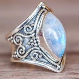 W stylu Vintage srebrny duży pierścień z kamieniem dla kobiet moda czeski Boho biżuteria 2018 nowy gorący