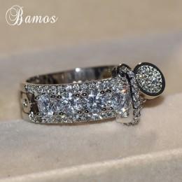Bamos luksusowe biały cyrkon pierścionek zaręczynowy Vintage różowe złoto wypełnione obrączki dla kobiet moda biżuteria 2018 New