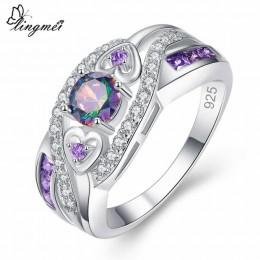 Lingmei Dropshipping moda kobiety biżuteria ślubna owalne serce projekt Multicolor i fioletowy biały CZ srebrny 925 pierścień ro