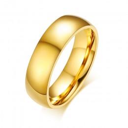 Vnox spersonalizowane złoty kolor obrączki pierścień dla kobiet mężczyzn biżuteria 6mm pierścionek zaręczynowy ze stali nierdzew
