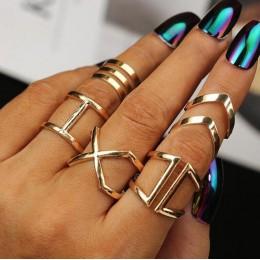 5 sztuk/zestaw klasyczne złoty kolor V Chevron pierścienie geometryczny nieregularny pierścień zestaw Lady urok kostium biżuteri