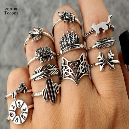 Tocona 12 sztuk/zestaw czechy antyczne srebro strzałka słoń Fox lew Pony wzór rzeźbione zwierząt pierścienie zestawy dla kobiet