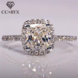 CC 925 Sterling Silver Rings dla kobiet ślubna dla nowożeńców Anelli modna biżuteria zaręczynowy pierścionek z białego złota kol