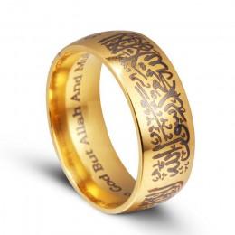 Moduł Trendy tytanu stali nierdzewnej koran Messager pierścienie religijne islamskich halal słowa mężczyźni kobiety w stylu vint