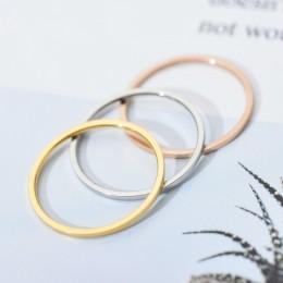 Biżuteria dla kobiet ze stali nierdzewnej pierścionek złoty srebrny różowe złoto elegancki klasyczny
