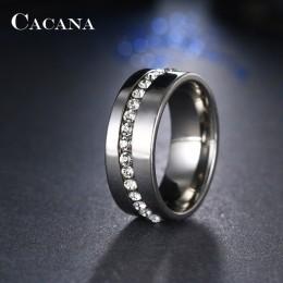 CACANA pierścienie ze stali nierdzewnej dla kobiet Slash linii CZ spersonalizowane niestandardowe moda biżuteria hurtowych, ale